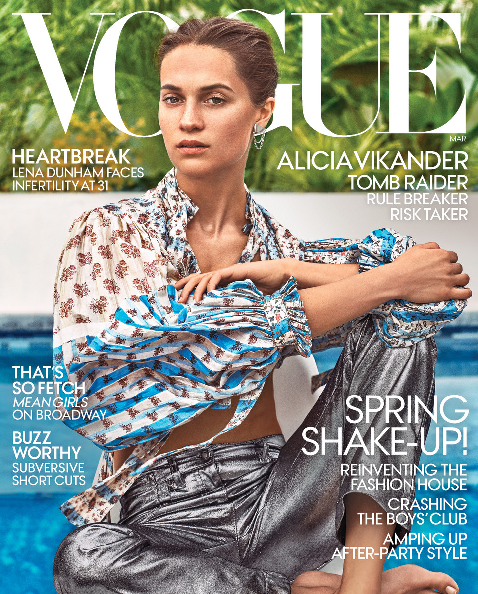 "Alicia Vikander on the March issue of ""Vogue."" Photo: Steven Klein"