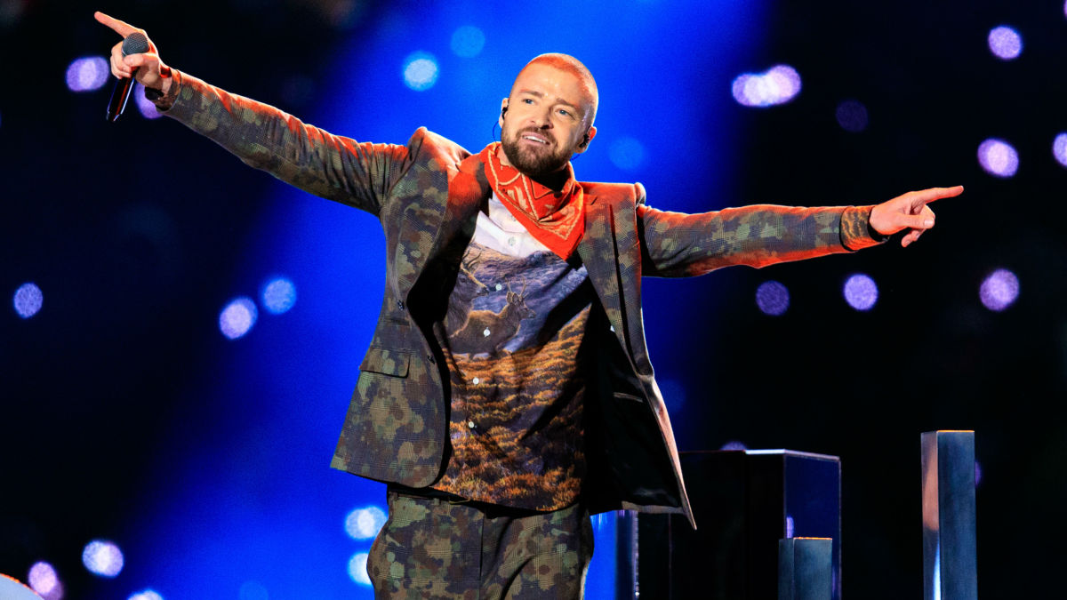Justin Timberlake during the 2018 Super Bowl halftime show. Photo: Christopher Polk/Getty Images