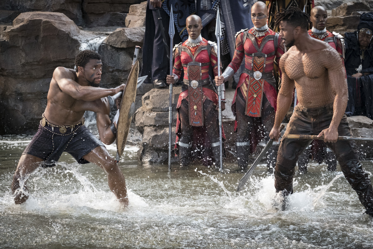 T'Challa and Killmonger (Michael B. Jordan) battle at Warrior Falls. Also, you're welcome. Photo: Marvel Studios