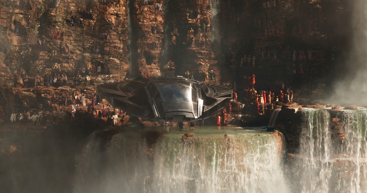 Wakandans gather at Warrior Falls. Photo: Marvel Studios