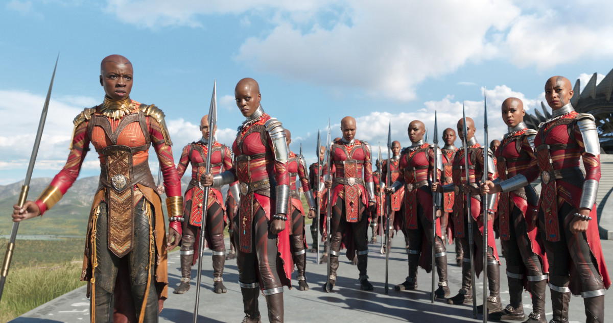 Okoye, far left, leads the Dora Milaje. Photo: Marvel Studios