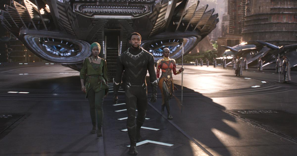 Nakia (Lupita Nyong'o), T'Challa (Chadwick Boseman) and Okoye (Danai Gurira). Photo: Marvel Studios