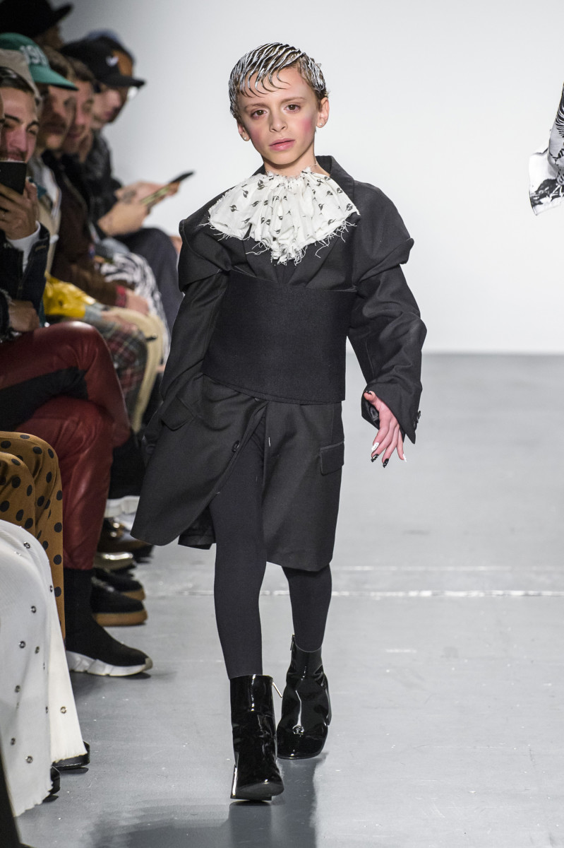Desmond Napoles walking in Gypsy Sport's Fall 2018 presentation. Photo: Imaxtree