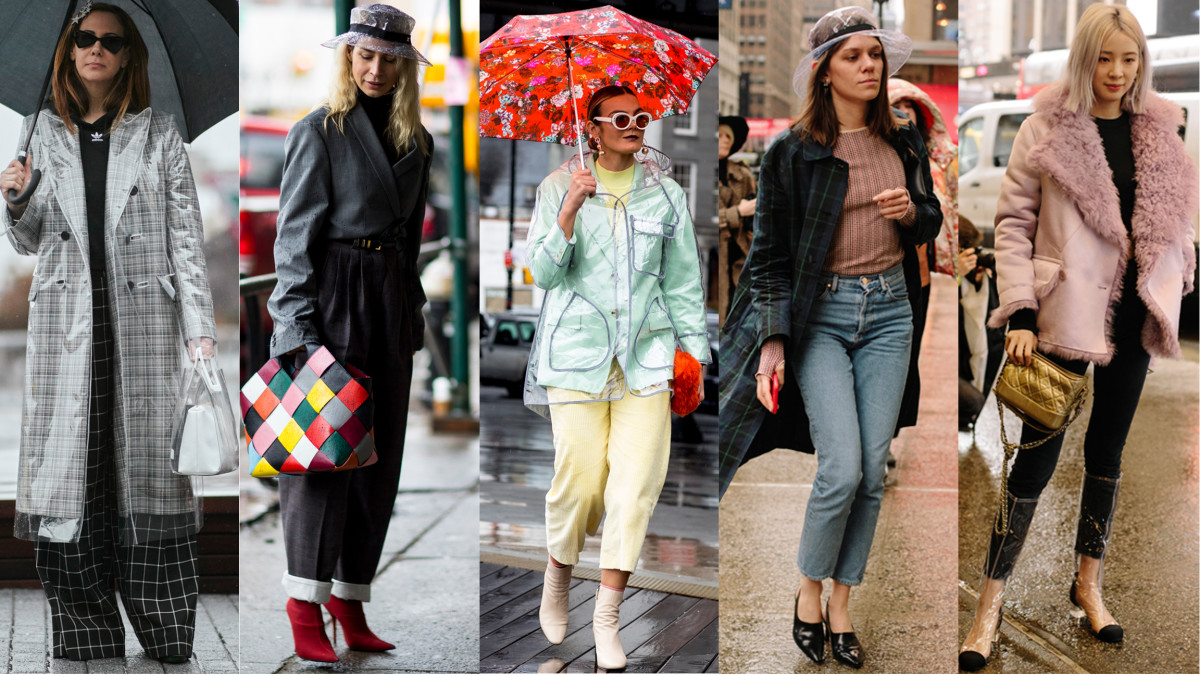 Clear plastic rain gear. Photos: Imaxtree (3), Angela Datre/Fashionista (2)