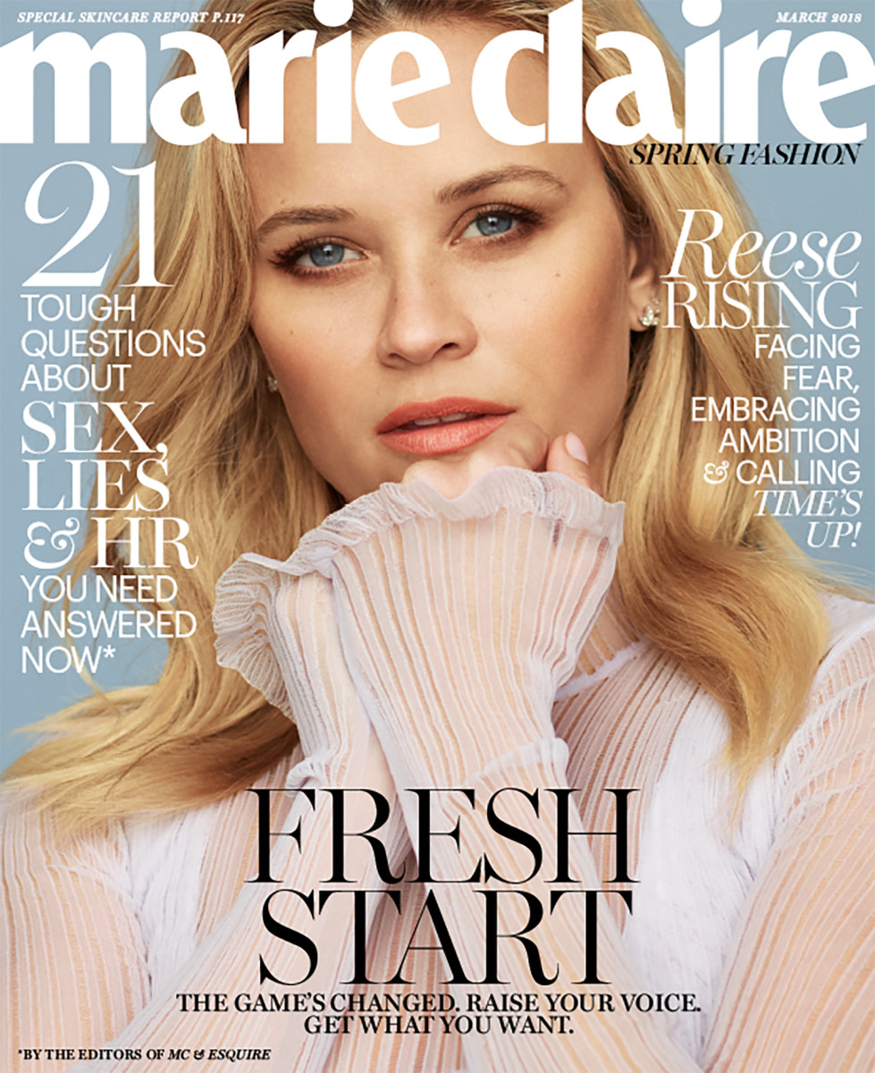 "Reese Witherspoon on the March cover of ""Marie Claire."" Photo: Thomas Whiteside/""Marie Claire"""