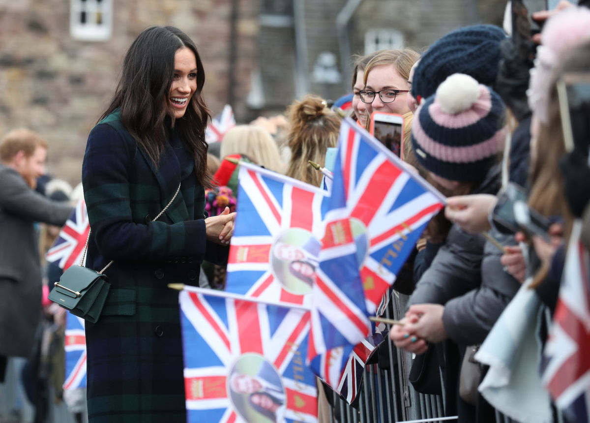 Meghan Markle meets well-wishers at Edinburgh Castle on Tuesday in Scotland. Photo: Andrew Milligan/WPA Pool/Getty Images