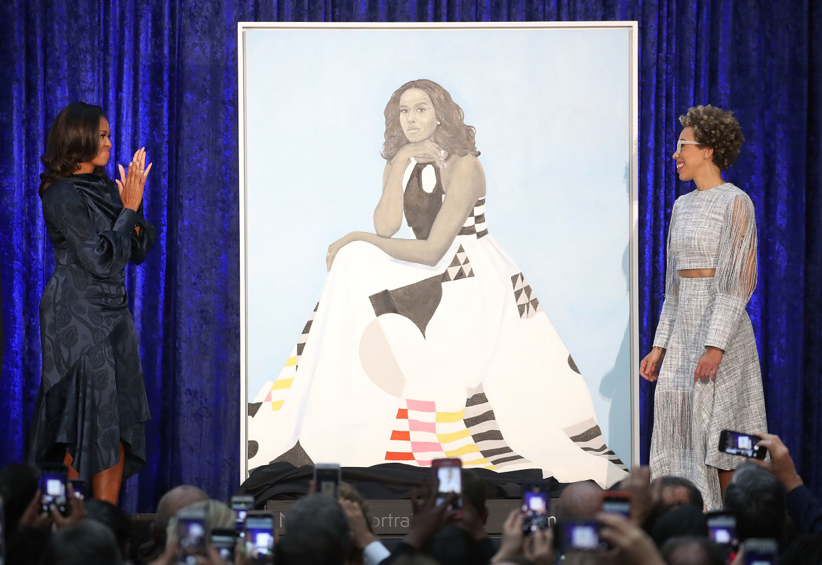 Michelle Obama and artist Amy Sherald at the official portrait unveiling at the Smithsonian's National Portrait Gallery. Photo: Mark Wilson/Getty Images