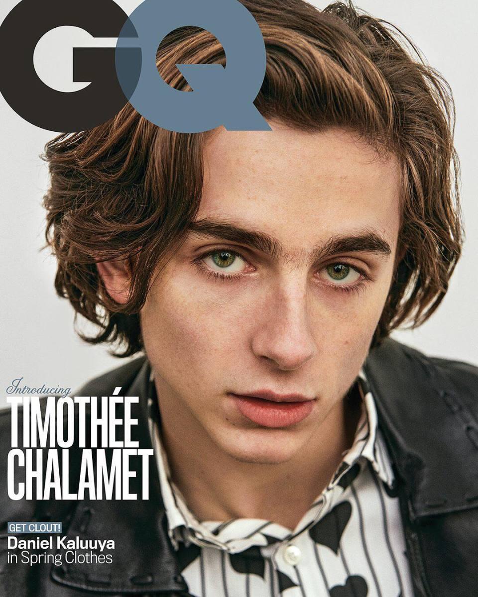"""Timothée Chalamet on """"GQ,"""" March 2018. Photo: Ryan McGinley/""""GQ"""""""