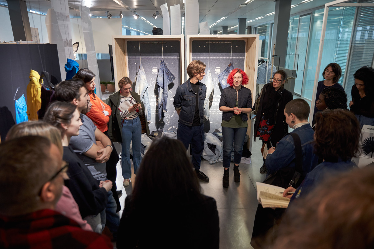 Adriana Galijasevic leads a tour describing G-Star's history of sustainability at the brand's Amsterdam headquarters. Photo: G-Star Raw