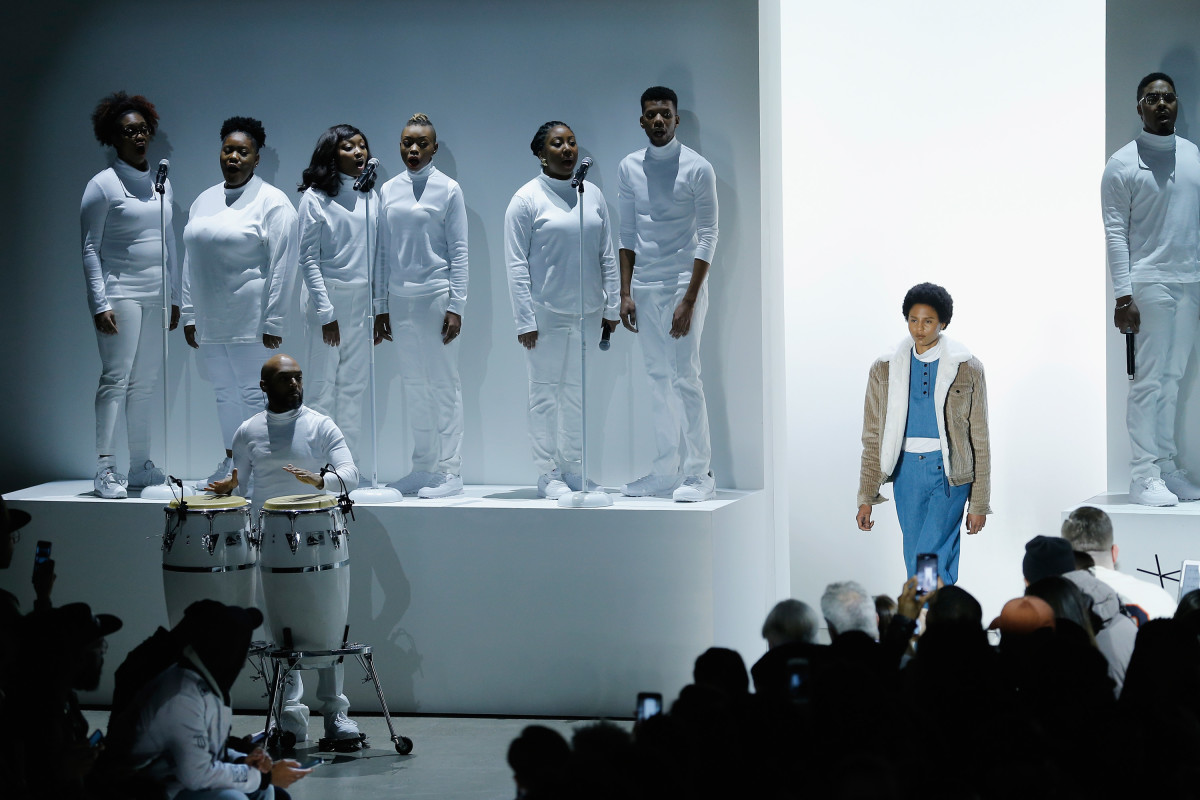 A choir performs at the Pyer Moss Fall 2018 show during New York Fashion Week. Photo: John Lamparski/Getty Images