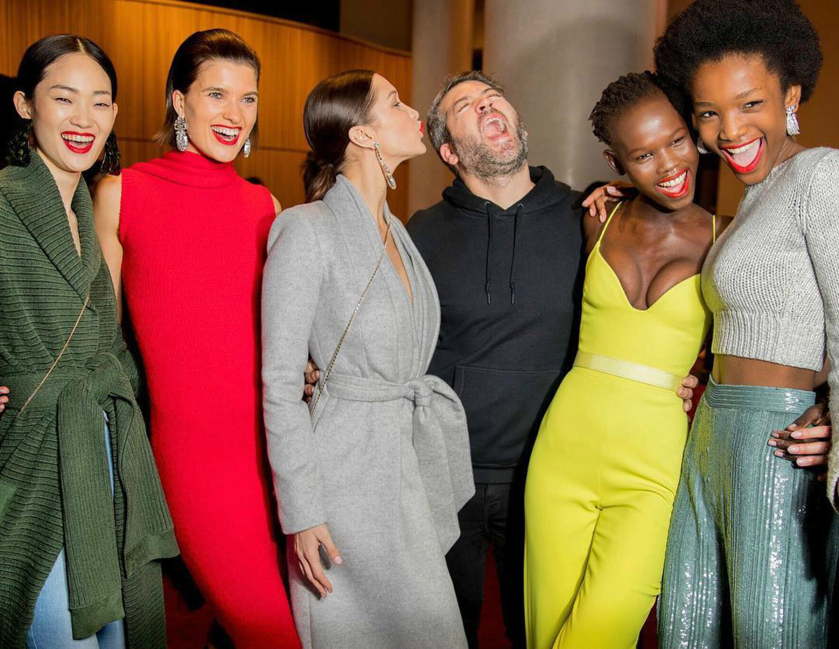 Models backstage at Brandon Maxwell's Fall 2018 runway show at The Appel Room. Photo: @brandonmaxwell/Instagram