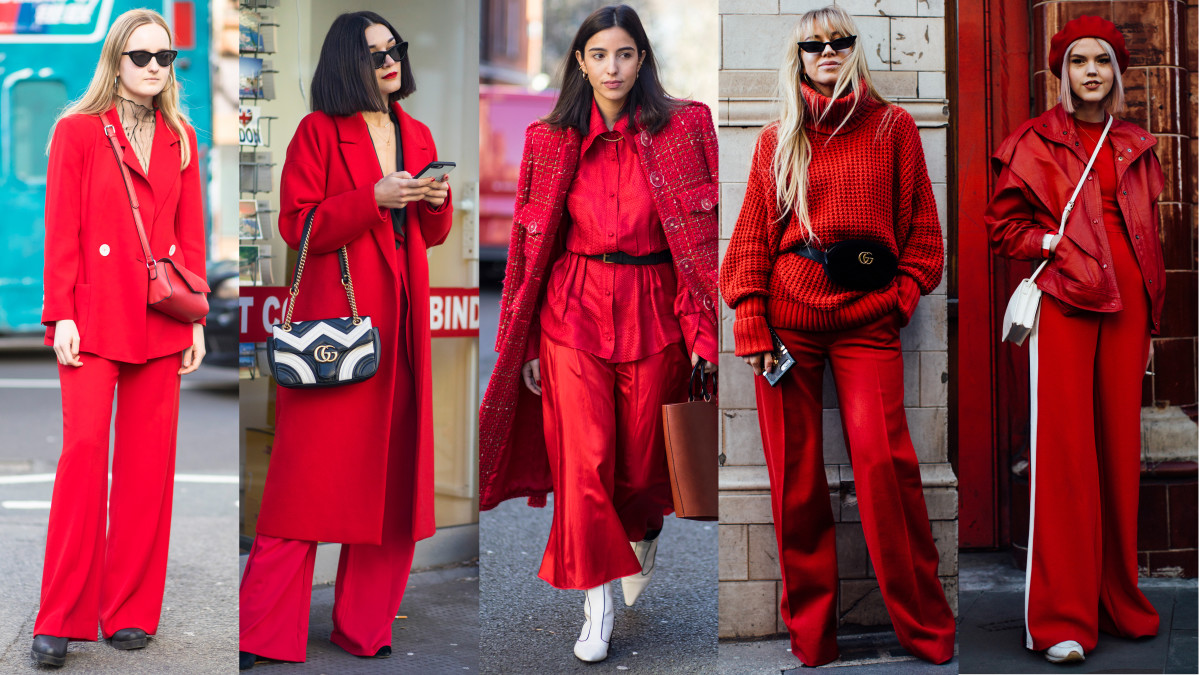All-red outfits. Photos: Chiara Marina Grioni/Fashionista (3), Imaxtree (2)