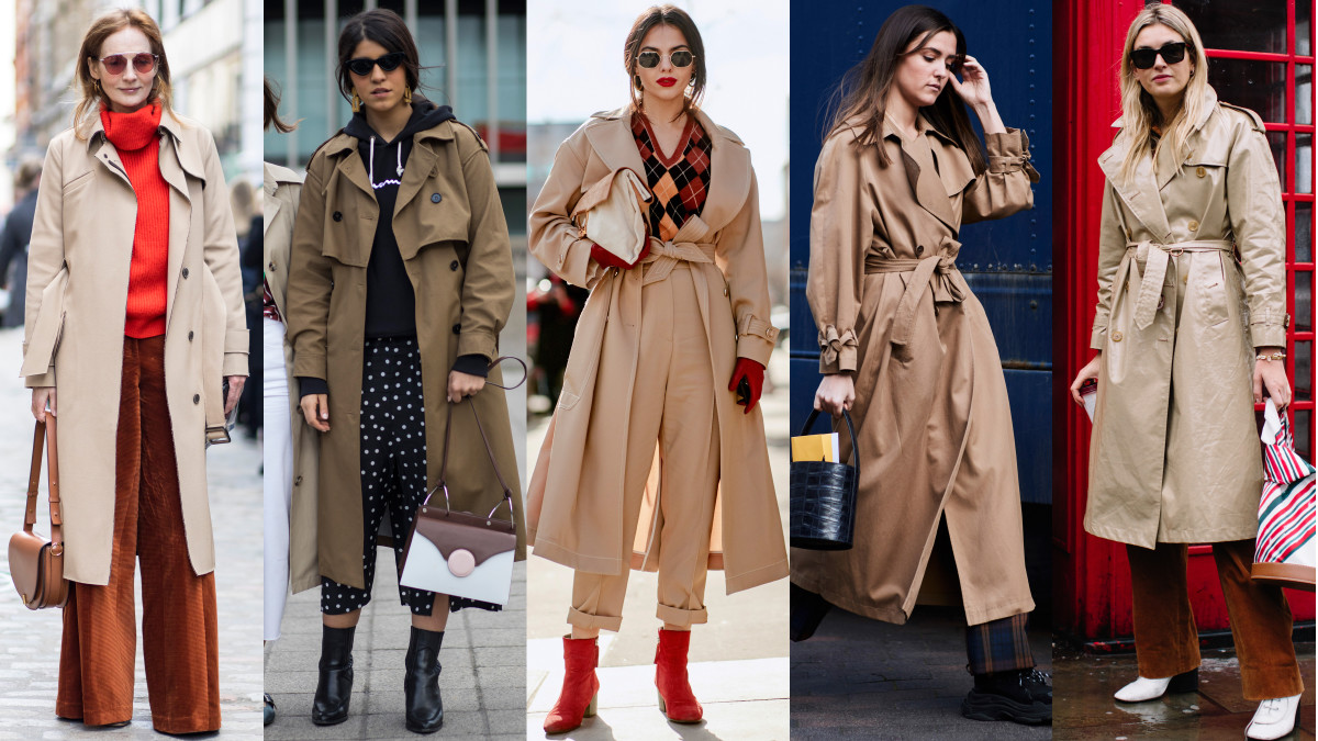 Trench coats. Photos: Chiara Marina Grioni/Fashionista (2), Imaxtree (3)