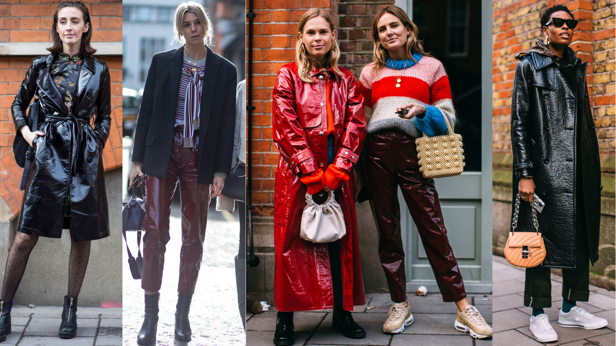 Shiny Leather Pants And Coats Were A Street Style Hit On