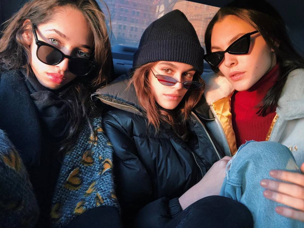 Yasmin Wijnaldum, Kaia Gerber andVittoria Ceretti during New York Fashion Week. Photo: @kaiagerber/Instagram