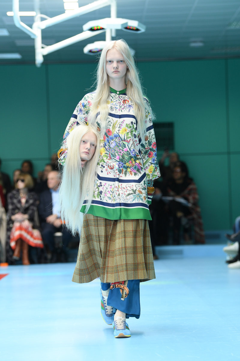 6f73f14ff8f A look from Gucci s Fall 2018 collection. Photo  Venturelli WireImage