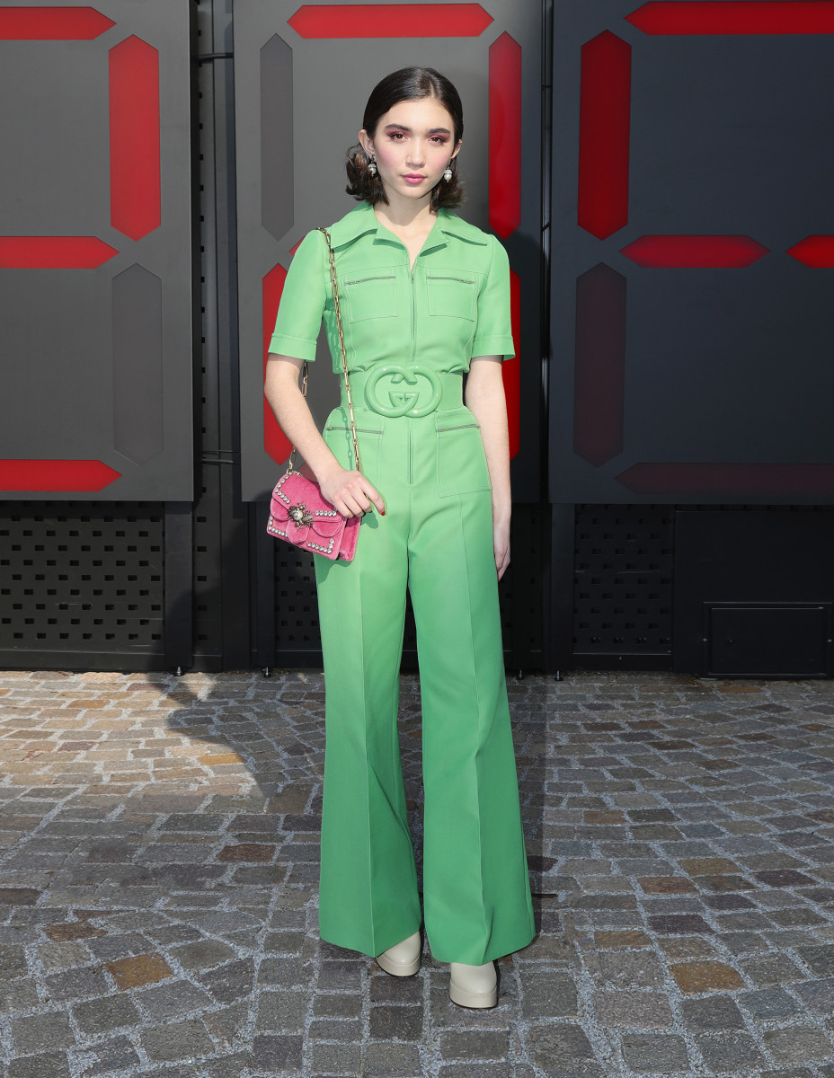 Rowan Blanchard in Gucci at the house's Fall 2018 show during Milan Fashion Week on Wednesday. Photo: Vittorio Zunino Celotto/Getty Images for Gucci