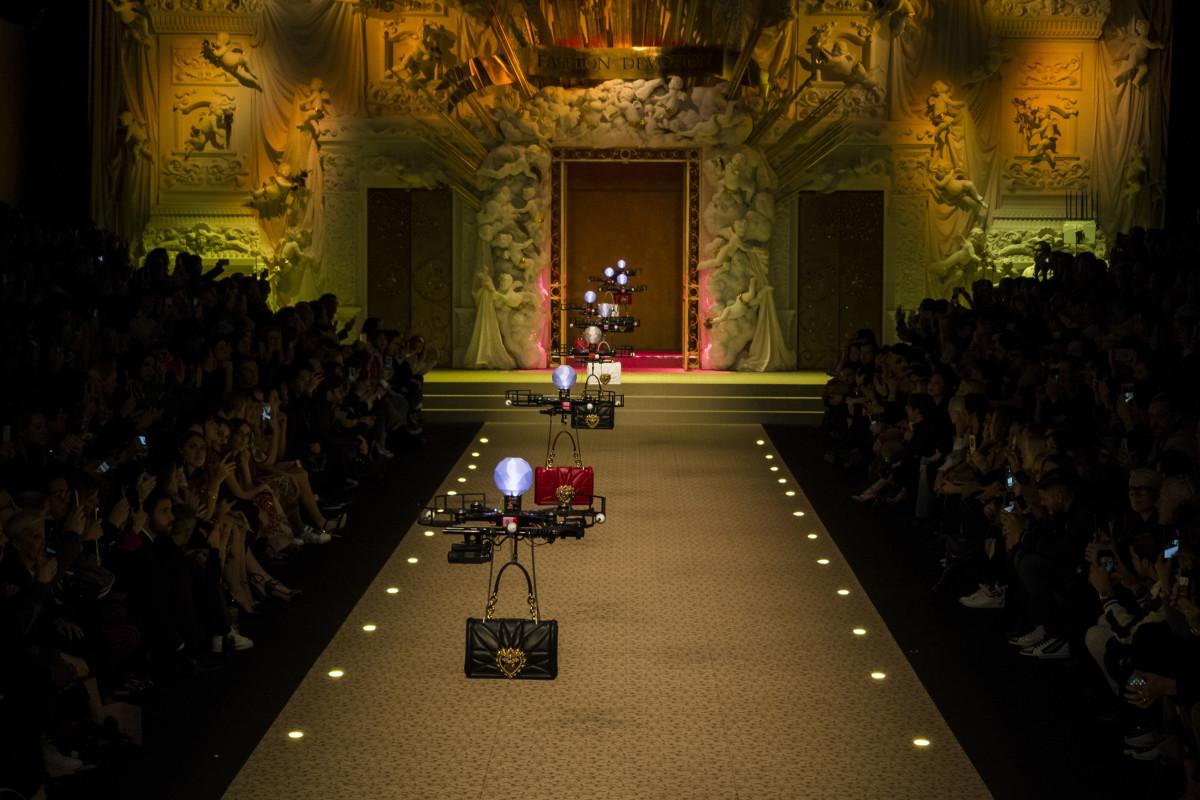 Drones at Dolce & Gabbana's Fall 2018 runway show. Photo: Imaxtree