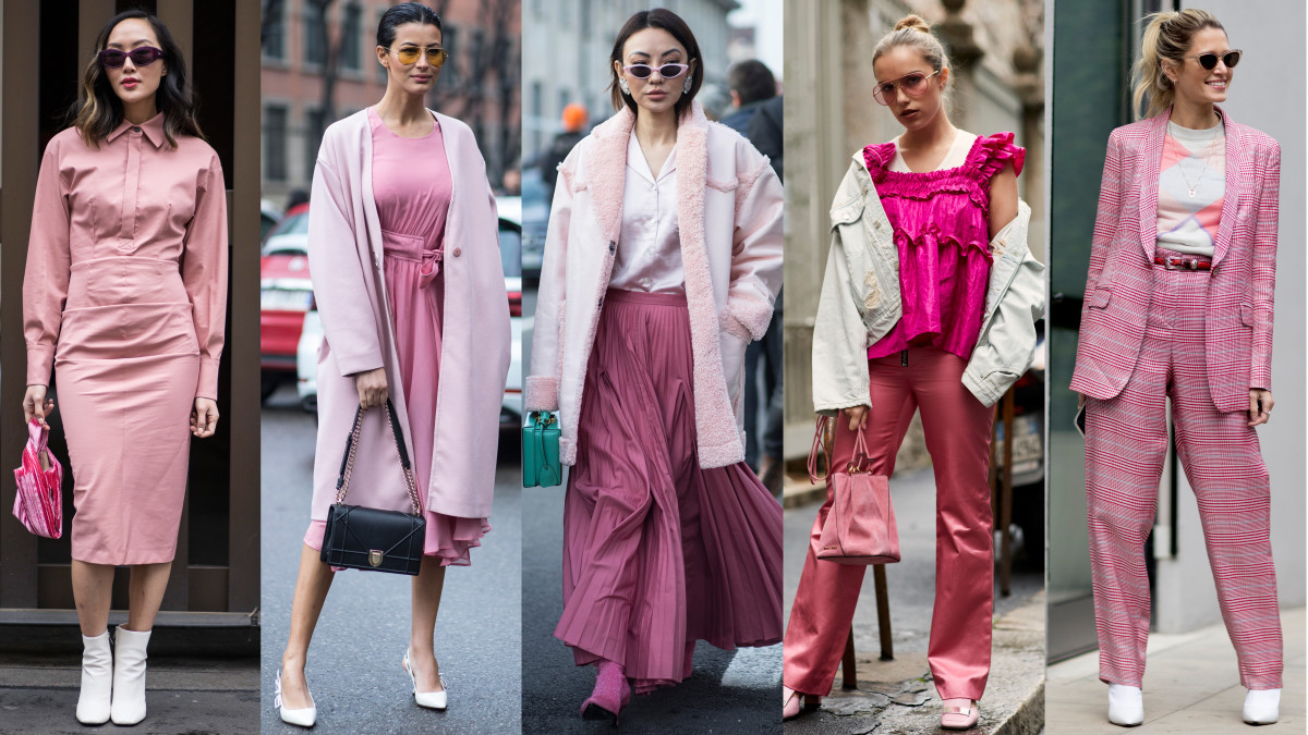 the color pink is still trending according to street style at milan
