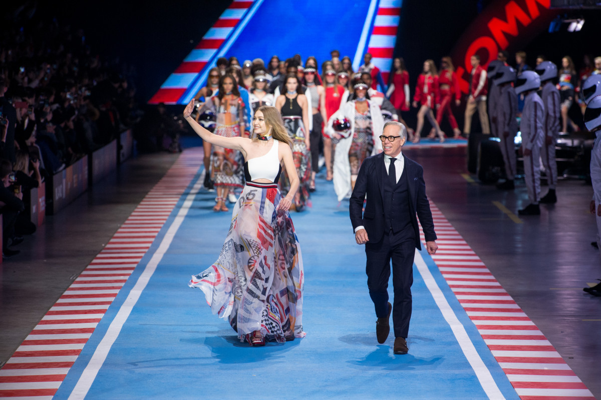 076b3a46 Gigi Hadid and Tommy Hilfiger Race Off Into the Sunset Together ...