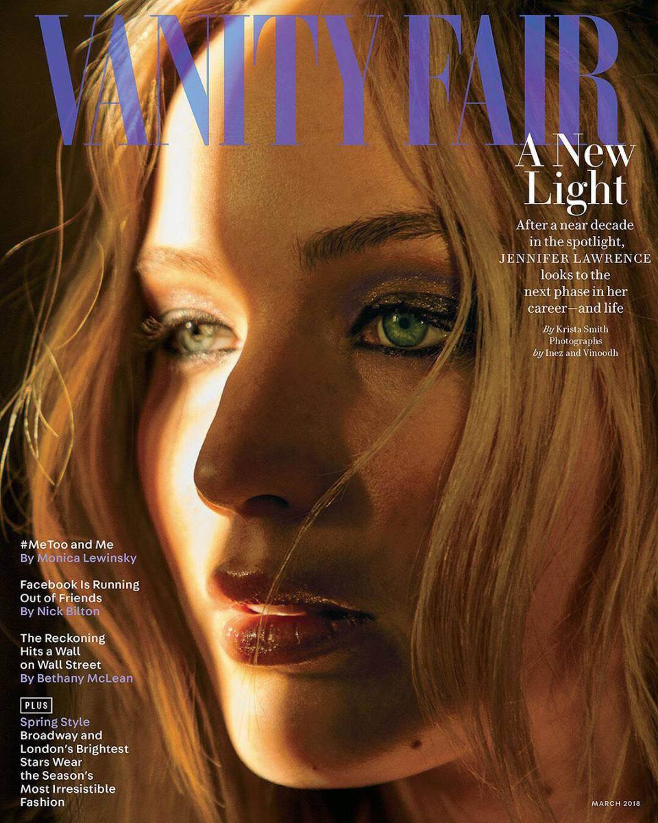 "Jennifer Lawrence on the March cover of ""Vanity Fair""."" Photo: Inez & Vinoodh"