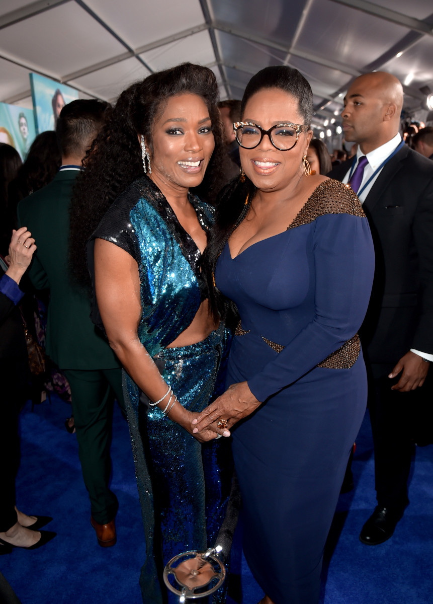 "Angela Bassett and Oprah at the premiere of Disney's ""A Wrinkle in Time"" in Los Angeles. Photo: Kevin Winter/Getty Images"