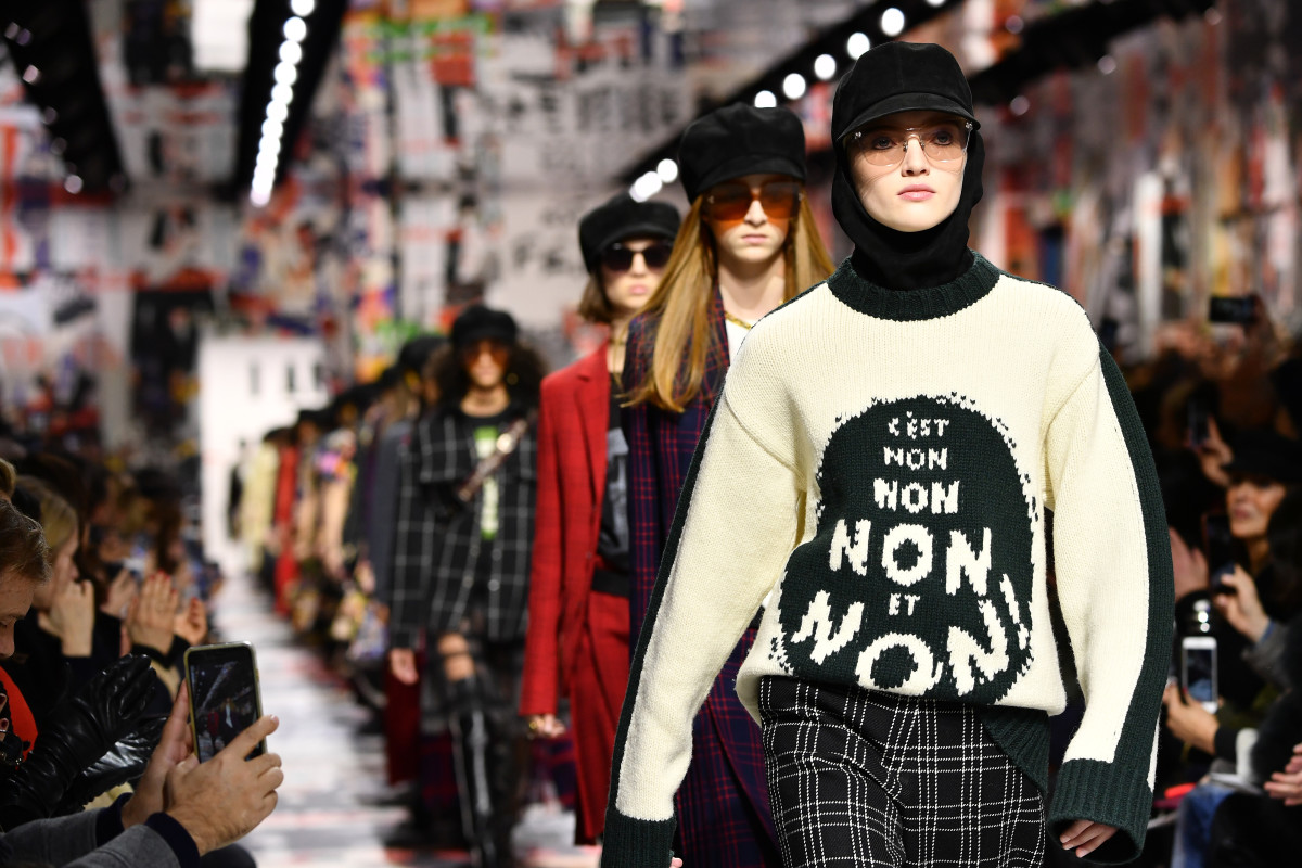Model Ruth Bell leading the runway finale of Dior's Fall 2018 show. Photo: Pascal Le Segretain / Getty Images