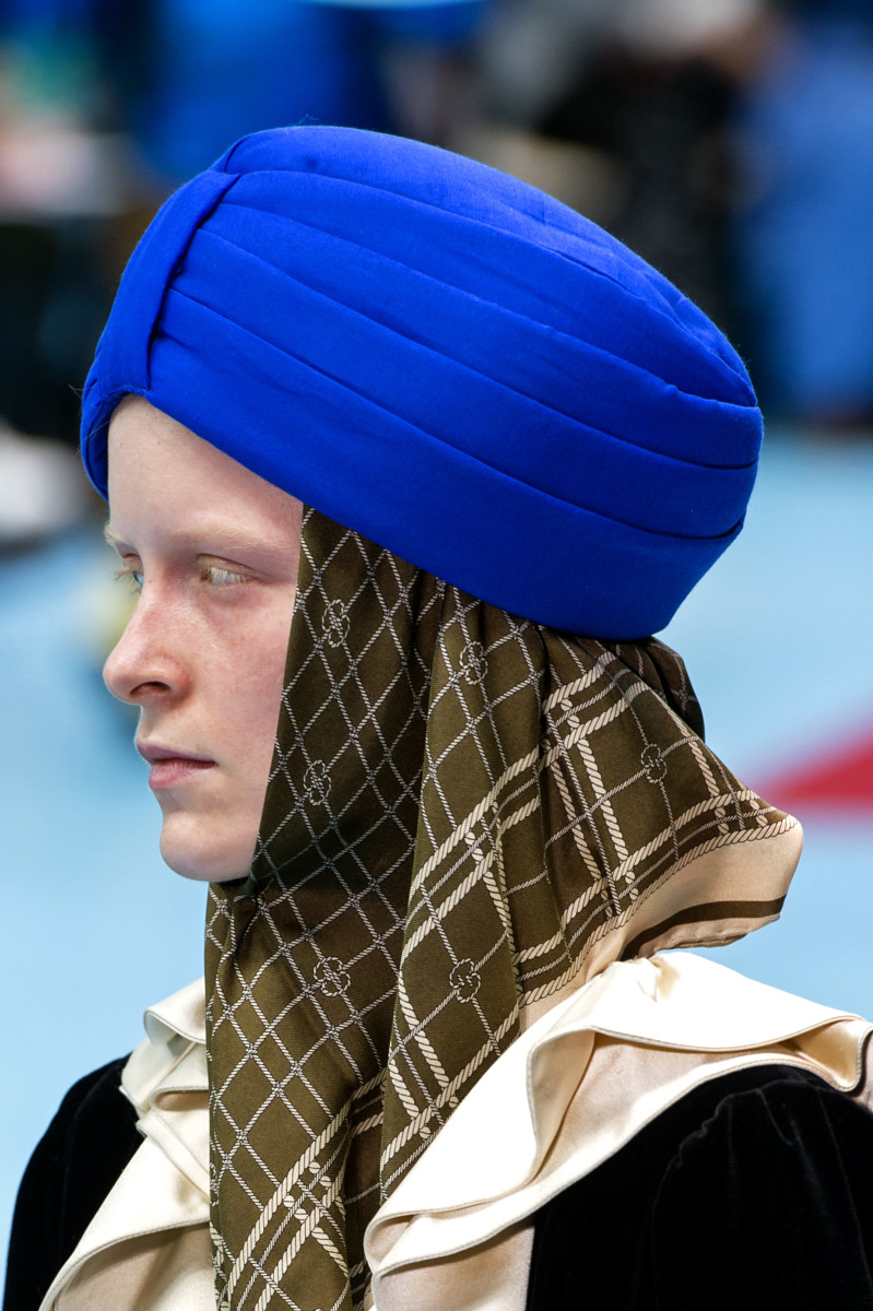 One of the turbans on the runway at Gucci's Fall 2018 show. Photo: Imaxtree