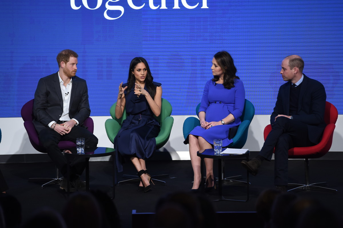 Prince Harry, Meghan Markle, Kate Middleton and Prince William at the first annual Royal Foundation Forum in London. Photo: Eddie Mulholland - WPA Pool/Getty Images