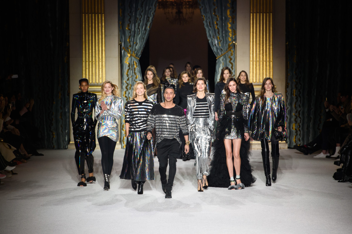 The finale of Balmain's Fall 2018 runway show. Photo: Imaxtree