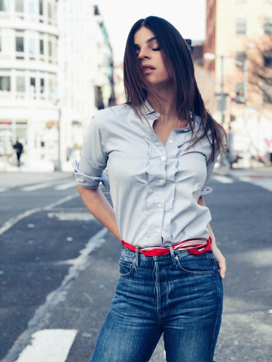 Julia Restoin-Roitfeld for Uniqlo's Ines de la Fressange. Photo: Uniqlo