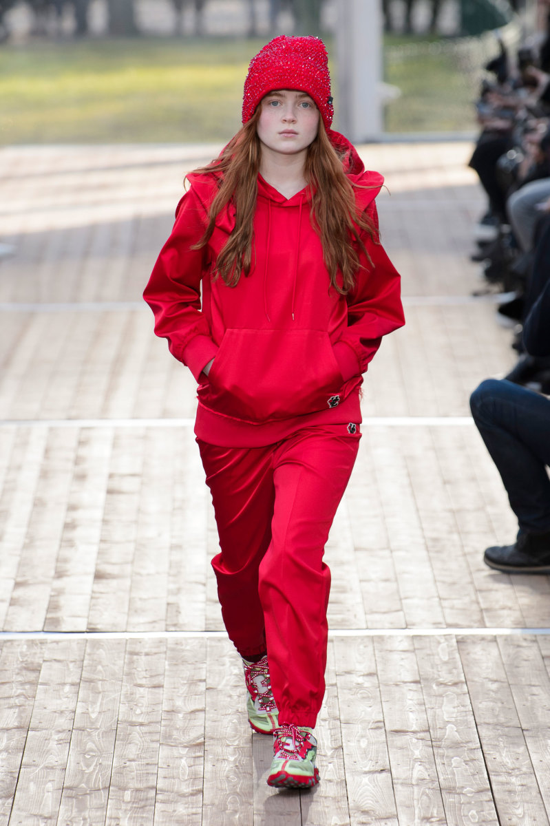 Sadie Sink on the runway at Undercover. Photo: Imaxtree