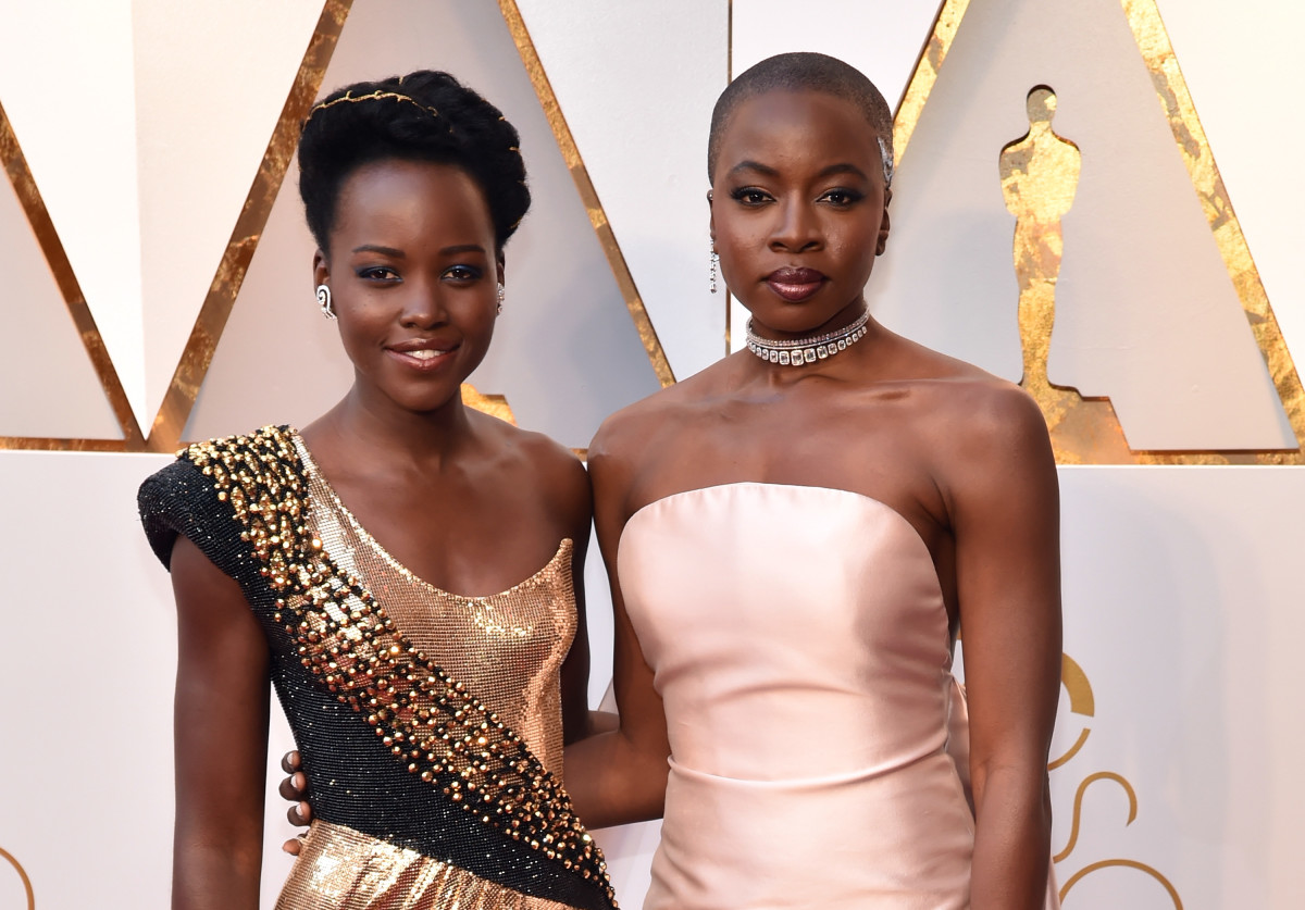 Lupita Nyong'o and Danai Gurira at the 90th Annual Academy Awards. Photo: Kevin Mazur/WireImage