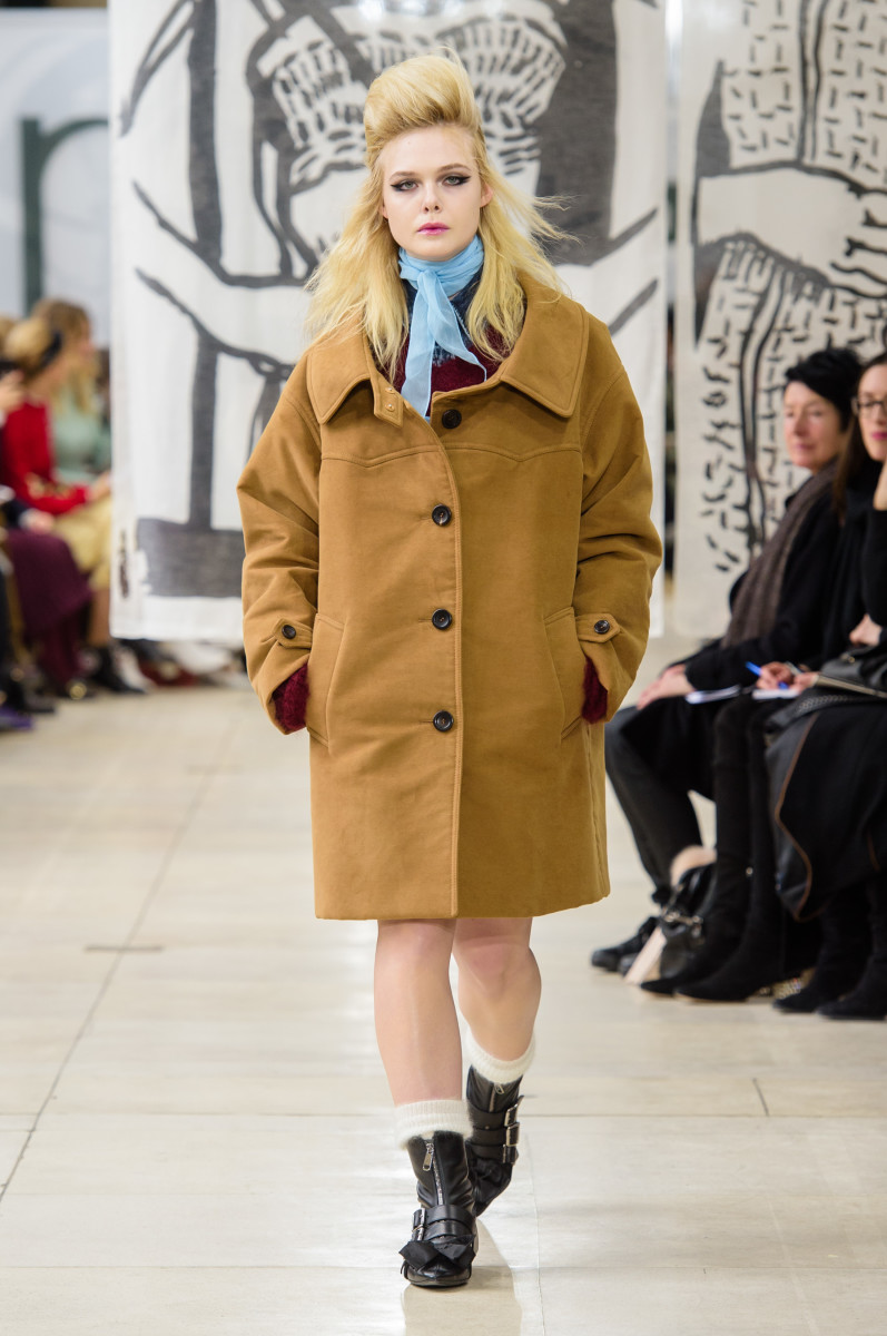Elle Fanning opening Miu Miu's Fall 2018 show. Photo: Imaxtree