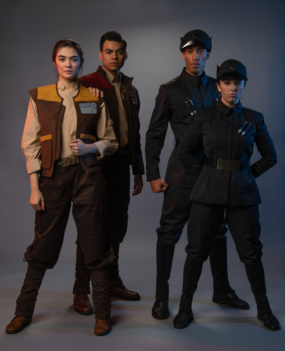 """""""Star Wars: Galaxy's Edge"""" costumes, including the Resistance (left) and First Order (right). Photo: Courtesy of Disneyland"""
