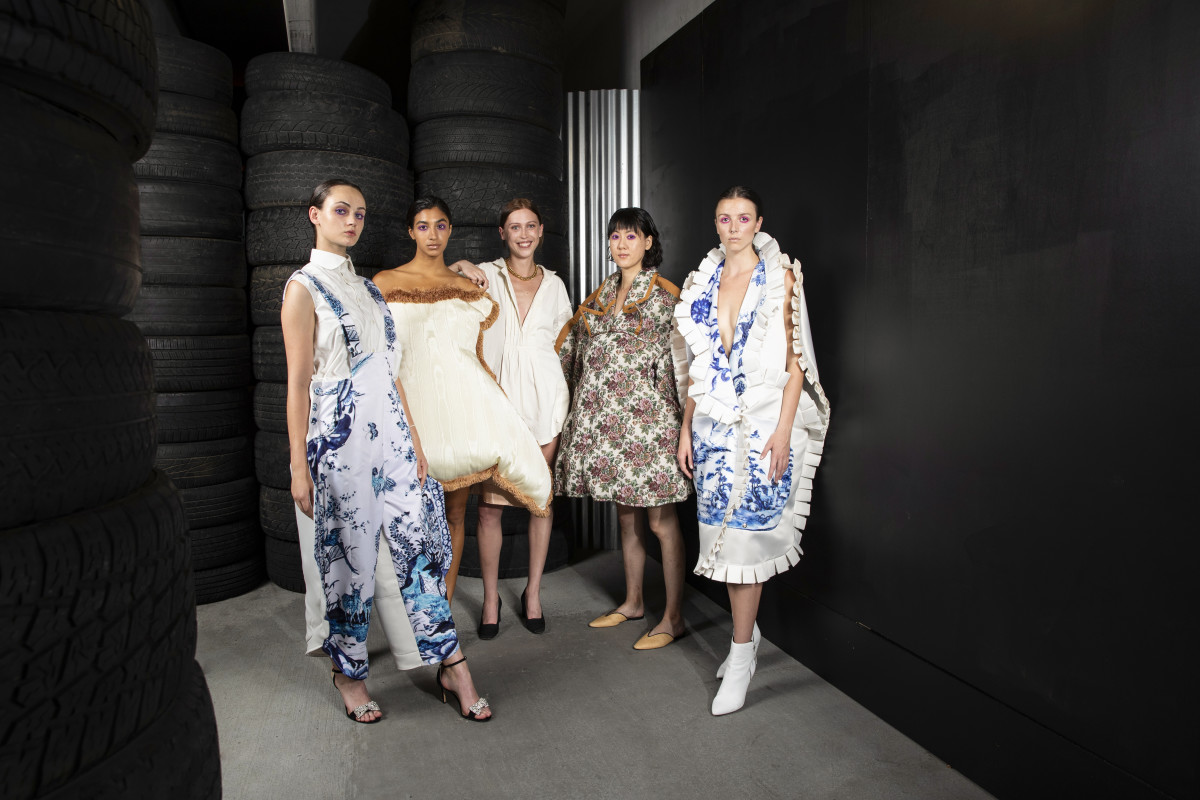 Mary Catherine Crisp (center) with models wearing looks from her SCAD Fashion 2019 collection. Photo: Courtesy of SCAD