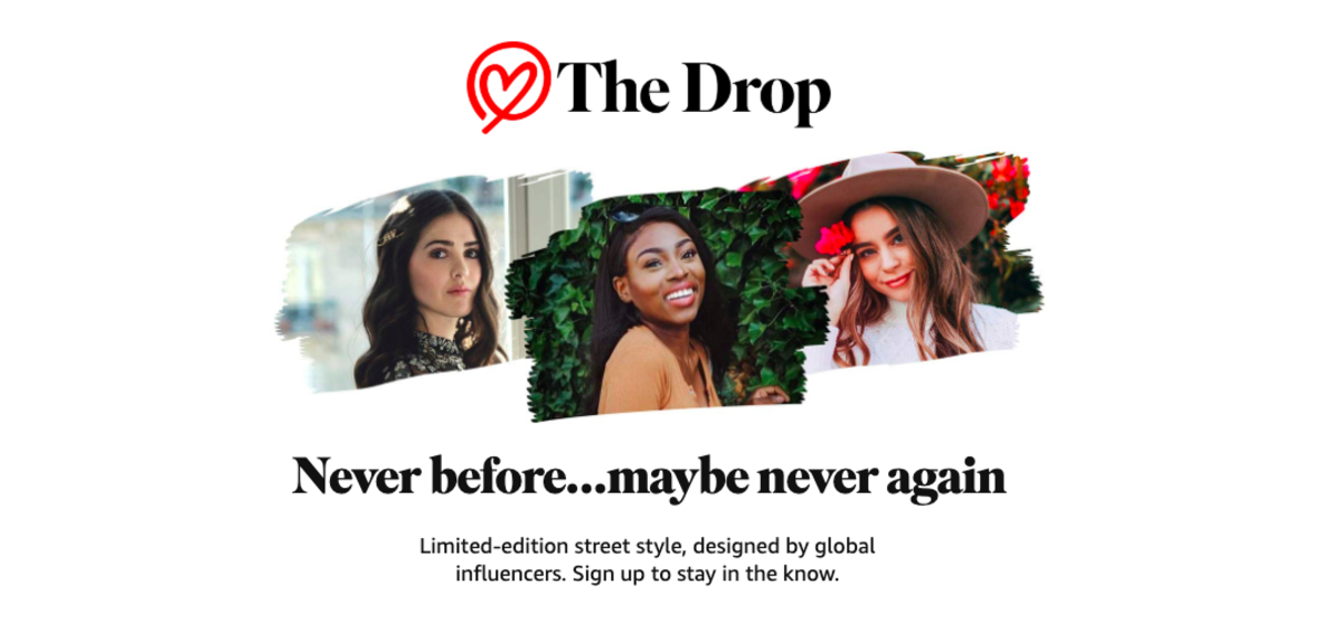 "The landing page for Amazon's ""The Drop."" Photo: Screenshot/Fashionista"