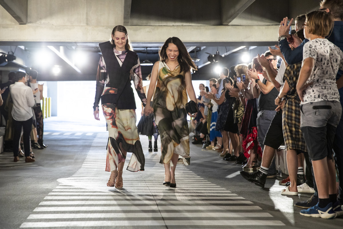 Jiexian Huang walks the SCAD Fashion show finale with her model. Photo: Courtesy of SCAD