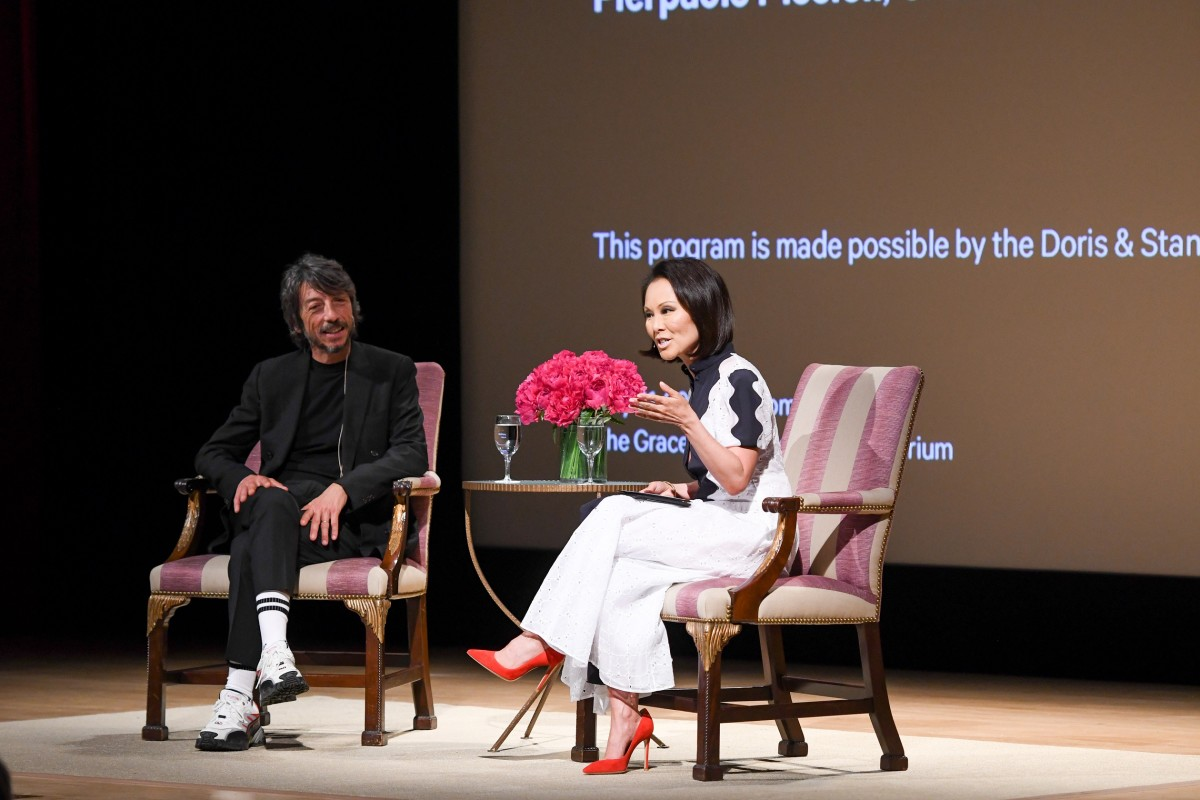 "Pierpaolo Piccioli with Alina Cho during ""The Atlier"" at the Metropolitan Museum of Art. Photo: BFA.com/Zach Hilty"
