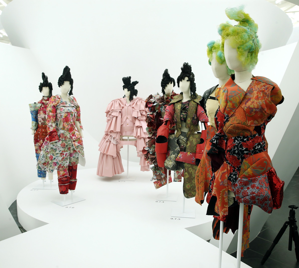 """Designs by Rei Kawakubo on display at the """"Rei Kawakubo/Comme des Garcons: Art Of The In-Between"""" at the Met. Photo: Jemal Countess/Getty Images"""