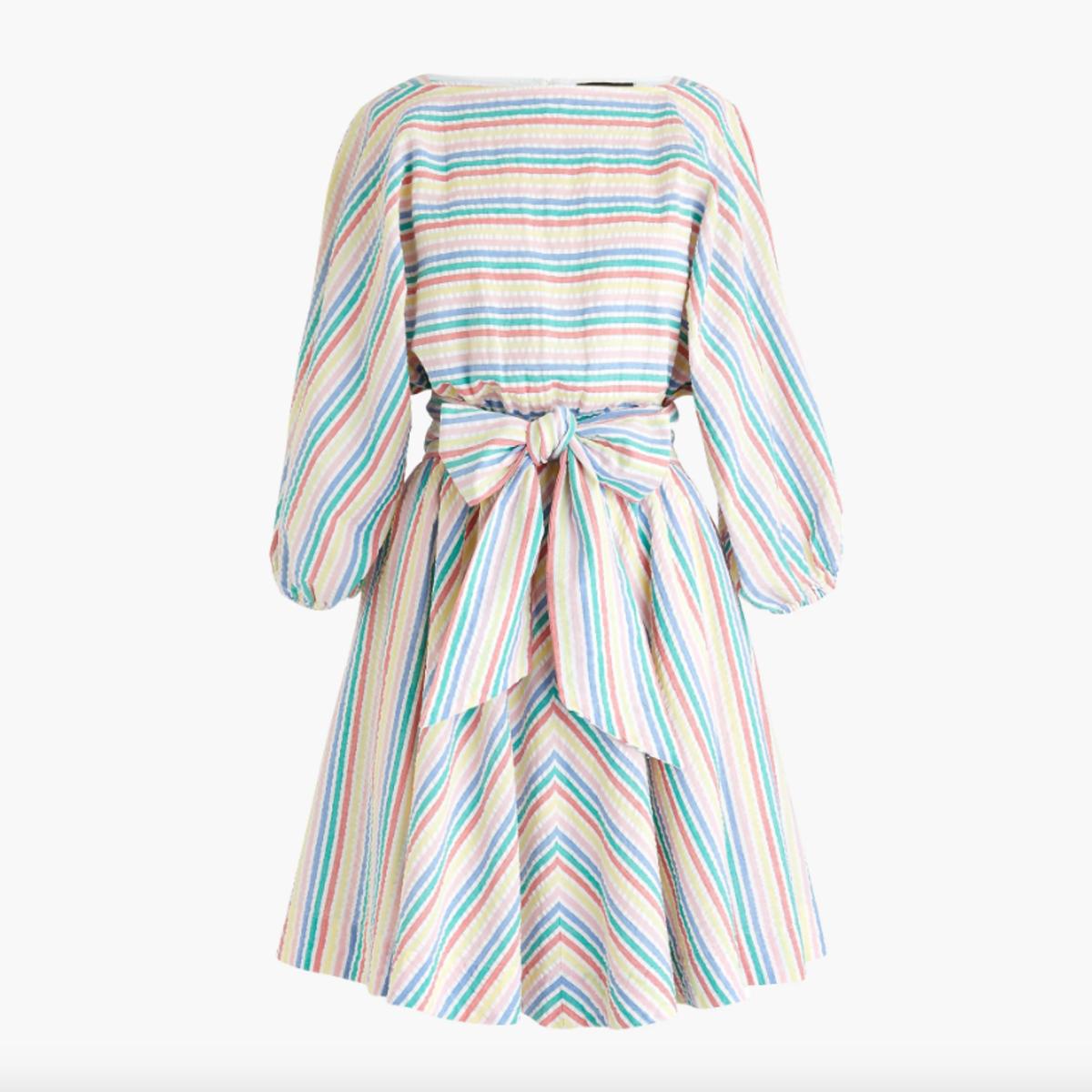 J.Crew Dolman-Sleeve Mini Dress in Rainbow Seersucker, $118, available here.
