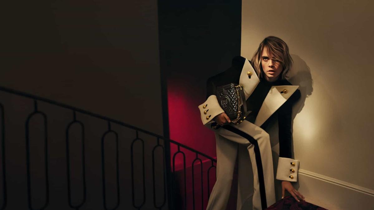 Cara Delevingne models the Balmain 'BBag.' Photo: Courtesy of Balmain