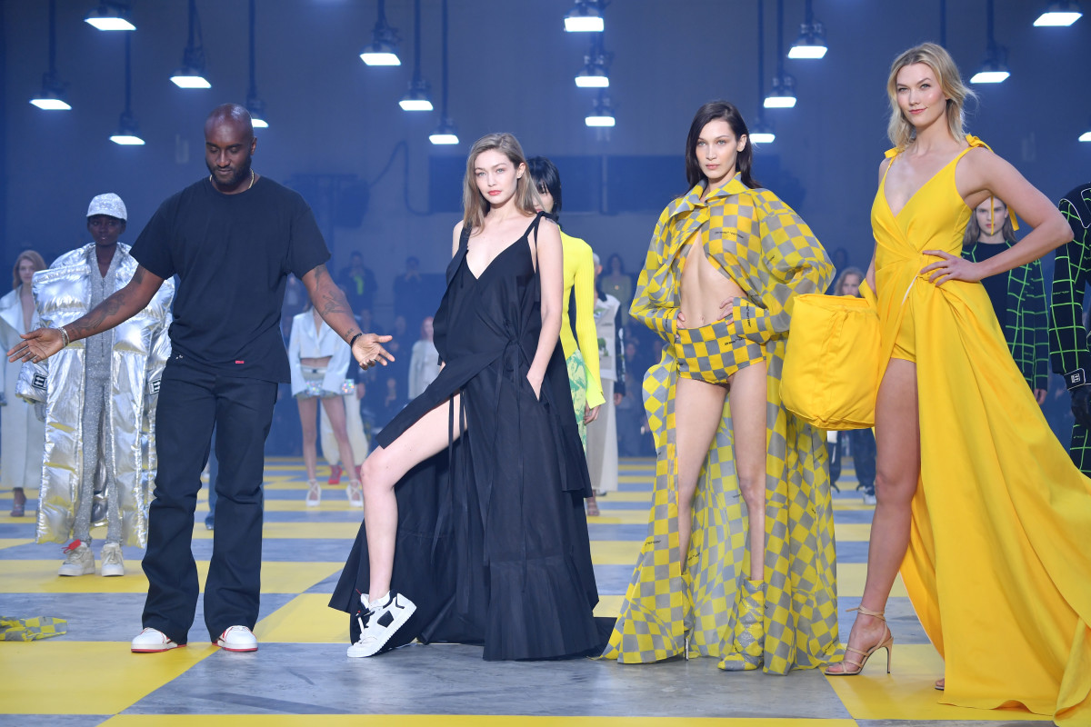 Virgil Abloh, Gigi Hadid, Bella Hadid and Karlie Kloss during the finale of the Off-White Fall 2019. Photo: Pascal Le Segretain/Getty Images
