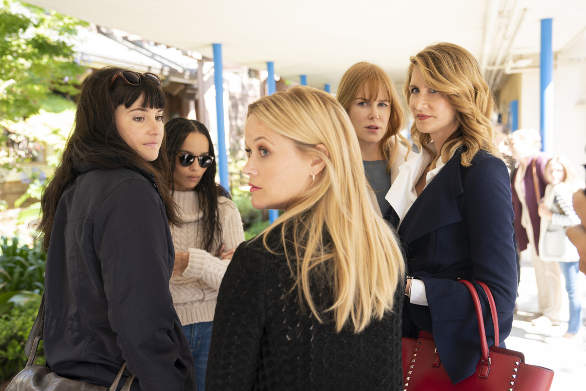 Jane (Shailene Woodley), Bonnie (Zoe Kravitz), Madeline (Reese Witherspoon), Celeste (Nicole Kidman) and Renata (Laura Dern). Photo: Jennifer Clasen/Courtesy of HBO