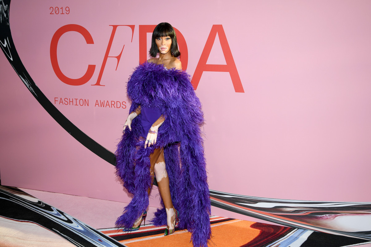Winnie Harlow in Christian Siriano at the 2019 CFDA Fashion Awards. Photo: Dimitrios Kambouris/Getty Images