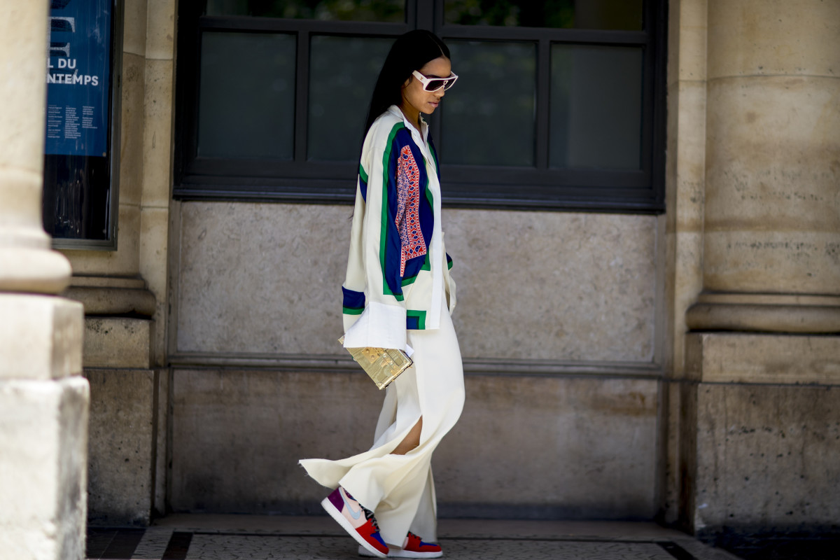Aleali May in Jordan 1s and an old Céline blouse. Photo: Imaxtree