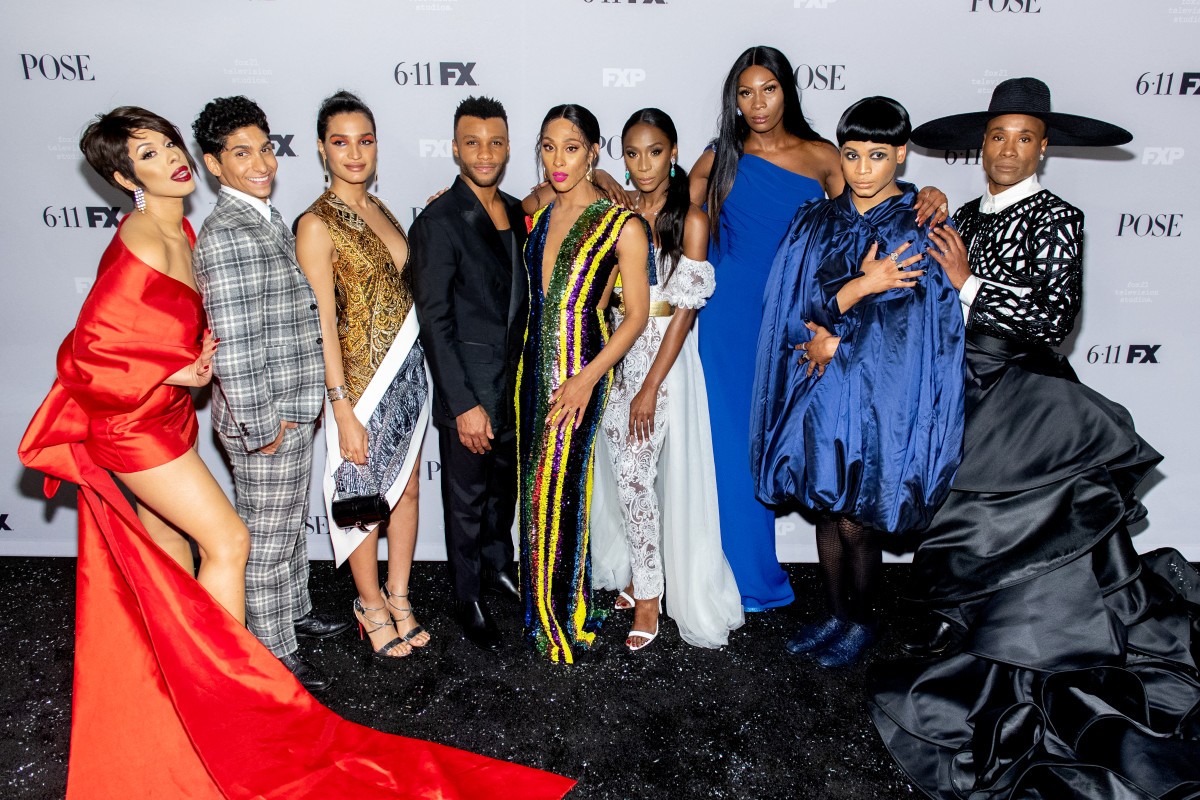 """From left: Hailie Sahar, Angel Bismark Curiel, Indya Moore, Dyllón Burnside, Mj Rodriguez, Angelica Ross, Dominique Jackson, Ryan Jamaal Swain and Billy Porter at the """"Pose"""" Season 2 premiere in New York City. Photo: Roy Rochlin/Getty Images"""