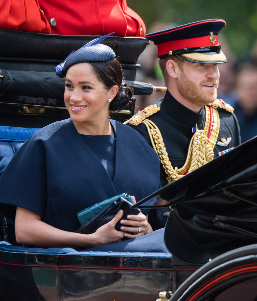 Prince Harry, Duke of Sussex and Meghan, Duchess of Sussex, in custom Givenchy attend the Trooping the Colour, the Queen's annual birthday parade, in London. Photo: Samir Hussein/WireImage