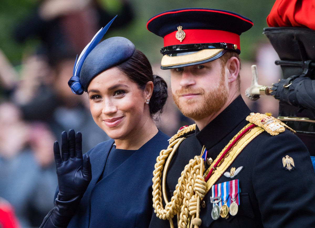 Meghan, Duchess of Sussex, in custom Givenchy and Prince Harry, Duke of Sussex, attend the Trooping the Colour, the Queen's annual birthday parade, in London. Photo: Samir Hussein/WireImage