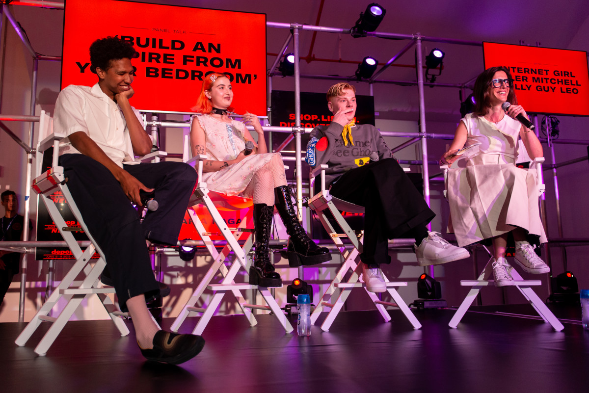 From left: Tyler Mitchell, Bella McFadden, Gully Guy Leo and Maria Raga on a panel for Depop Live 2019 in New York City. Photo: Madison Voelkel/BFA.com, Courtesy of Depop